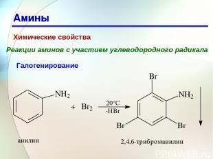 * Амины Химические свойства Реакции аминов с участием углеводородного радикала Г