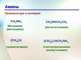 * Амины Номенклатура и изомерия 2-метилпропанамин (изобутиламин) CH3NH2 CH3NHCH2