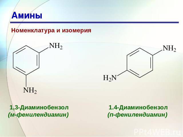 * Амины Номенклатура и изомерия 1,3-Диаминобензол (м-фенилендиамин) 1.4-Диаминобензол (п-фенилендиамин)