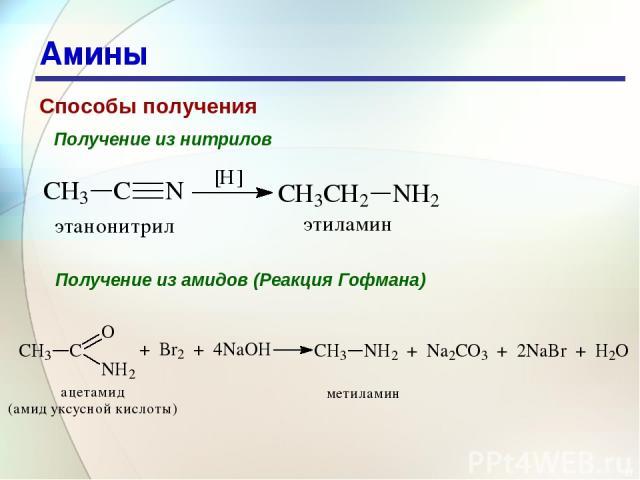 * Амины Способы получения Получение из нитрилов Получение из амидов (Реакция Гофмана)