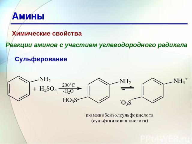 * Амины Химические свойства Реакции аминов с участием углеводородного радикала Сульфирование