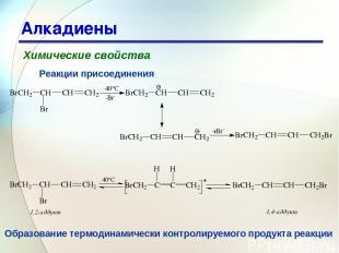 * Алкадиены Химические свойства Реакции присоединения Образование термодинамичес