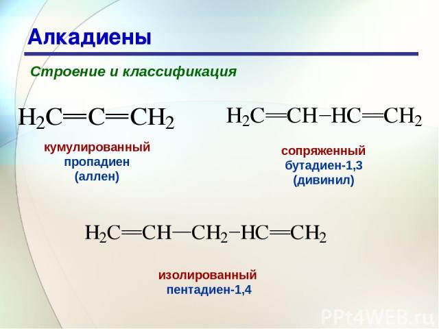 * Алкадиены Строение и классификация кумулированный пропадиен (аллен) сопряженный бутадиен-1,3 (дивинил) изолированный пентадиен-1,4