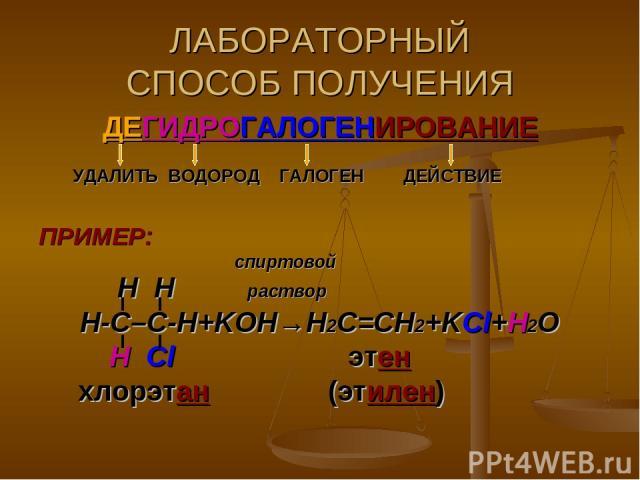 ЛАБОРАТОРНЫЙ СПОСОБ ПОЛУЧЕНИЯ ДЕГИДРОГАЛОГЕНИРОВАНИЕ УДАЛИТЬ ВОДОРОД ГАЛОГЕН ДЕЙСТВИЕ ПРИМЕР: спиртовой H H раствор Н-С–С-Н+KOH→Н2С=СН2+KCl+H2O Н Cl этен хлорэтан (этилен)