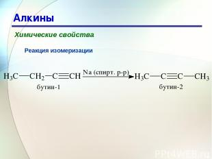 * Алкины Химические свойства Реакция изомеризации