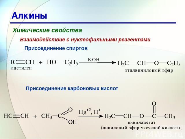 * Алкины Химические свойства Присоединение спиртов Взаимодействие с нуклеофильными реагентами Присоединение карбоновых кислот
