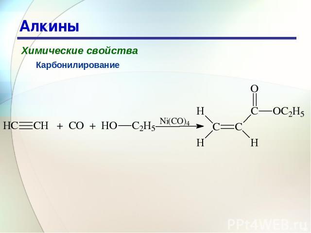 * Алкины Химические свойства Карбонилирование