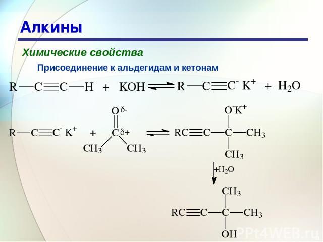 * Алкины Химические свойства Присоединение к альдегидам и кетонам