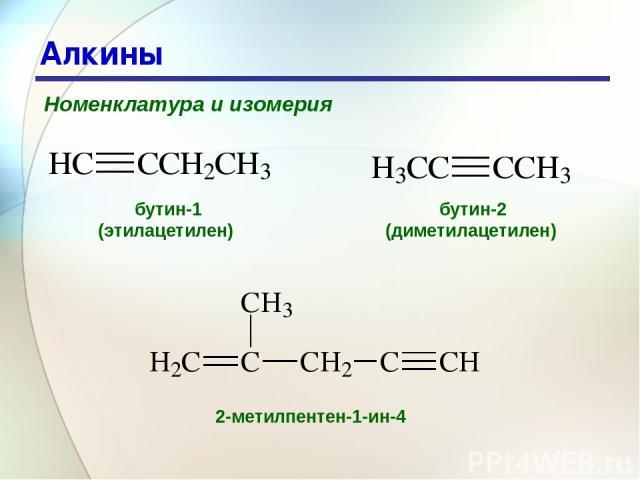 * Алкины Номенклатура и изомерия бутин-1 (этилацетилен) бутин-2 (диметилацетилен) 2-метилпентен-1-ин-4