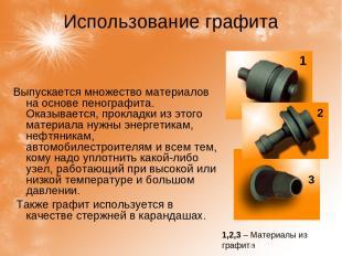 Использование графита Выпускается множество материалов на основе пенографита. Ок