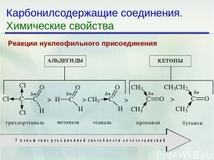 * Карбонилсодержащие соединения. Химические свойства Реакции нуклеофильного прис