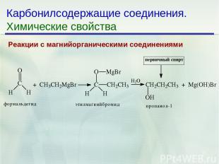 * Карбонилсодержащие соединения. Химические свойства Реакции с магнийорганически