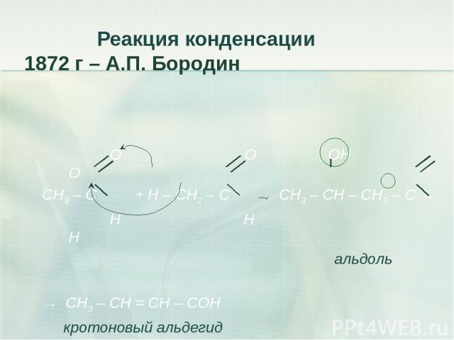 Реакция конденсации 1872 г – А.П. Бородин O O ОН О СН3 – C + Н – СН2 – C → СН3 – СН – СН2 – С → H Н Н альдоль → СН3 – СН = СН – СОН кротоновый альдегид