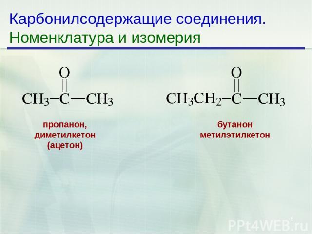 * Карбонилсодержащие соединения. Номенклатура и изомерия бутанон метилэтилкетон пропанон, диметилкетон (ацетон)