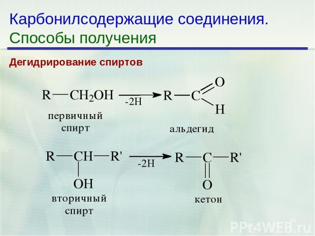 * Карбонилсодержащие соединения. Способы получения Дегидрирование спиртов