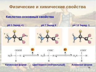 * Кислотно-основные свойства pH 1 Заряд +1 pH 7 Заряд 0 pH 13 Заряд -1 Цвиттерио