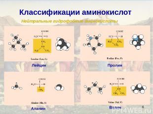 * Классификации аминокислот Нейтральные гидрофобные аминокислоты Аланин Валин Ле