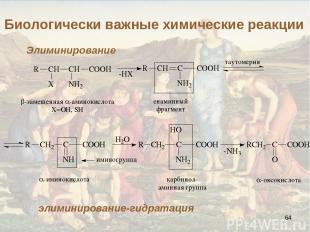 * Биологически важные химические реакции Элиминирование элиминирование-гидратаци
