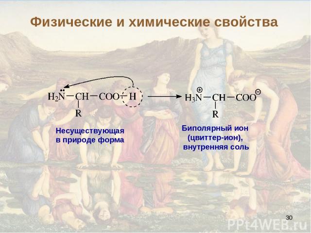 * Несуществующая в природе форма Биполярный ион (цвиттер-ион), внутренняя соль Физические и химические свойства