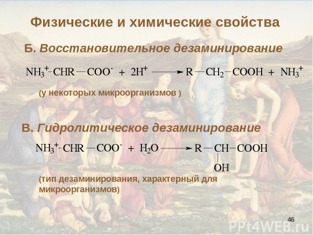 * Б. Восстановительное дезаминирование (у некоторых микроорганизмов ) В. Гидролитическое дезаминирование (тип дезаминирования, характерный для микроорганизмов) Физические и химические свойства