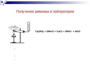 Получение аммиака в лаборатории Ca(OH)2 + 2NH4Cl = CaCl2 + 2NH3↑ + 2H2O Поднесит