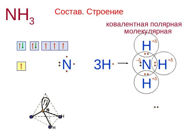 Состав. Строение NH3 N 1s2 2s2 2p3 + H N H H 3H H N 1s1 +δ +δ +δ –δ Н или H H H N — — │ 107,3º Химическая связь ковалентная полярная Кристаллическая решетка молекулярная