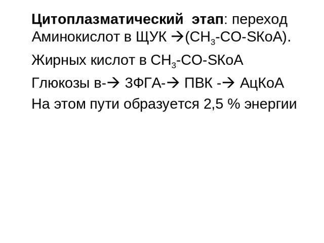 Цитоплазматический этап: переход Аминокислот в ЩУК (СН3-СО-SКоА). Жирных кислот в СН3-СО-SКоА Глюкозы в- 3ФГА- ПВК - АцКоА На этом пути образуется 2,5 % энергии