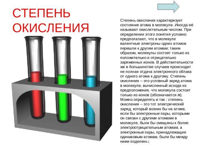 СТЕПЕНЬ ОКИСЛЕНИЯ Степень окисления характеризует состояние атома в молекуле. Иногда её называют окислительным числом. При определении этого понятия условно предполагают, что в молекуле валентные электроны одних атомов перешли к другим атомам; таким…