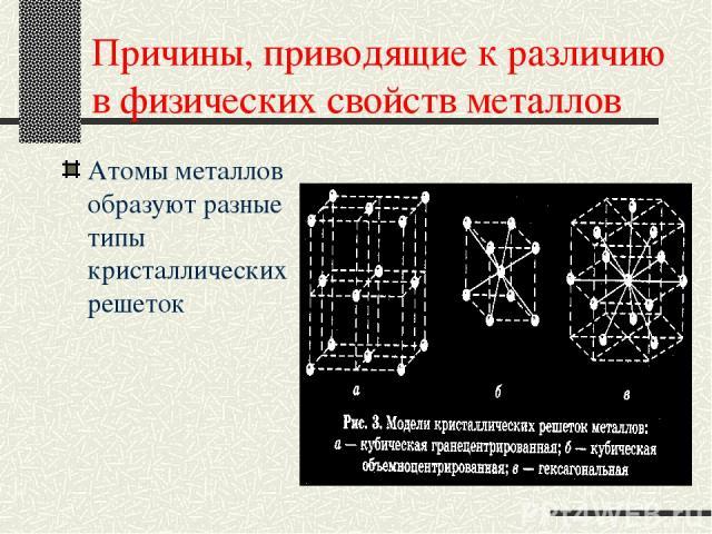 Причины, приводящие к различию в физических свойств металлов Атомы металлов образуют разные типы кристаллических решеток