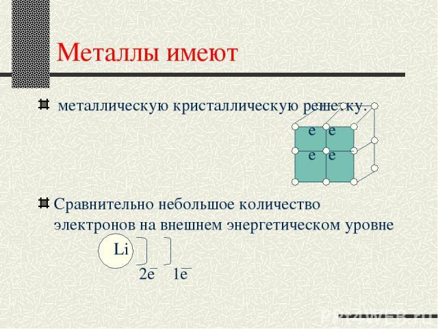 Металлы имеют металлическую кристаллическую решетку. е е е е Сравнительно небольшое количество электронов на внешнем энергетическом уровне Li 2е 1е