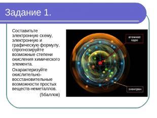 Задание 1. Составитьте электронную схему, электронную и графическую формулу, спр