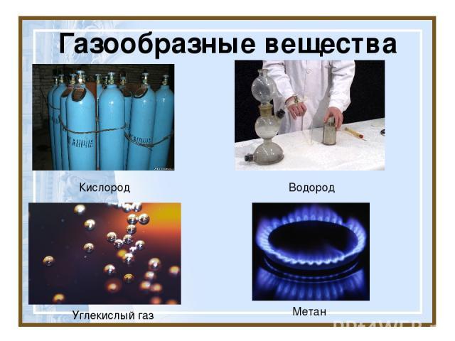 Газообразные вещества Кислород Углекислый газ Водород Метан