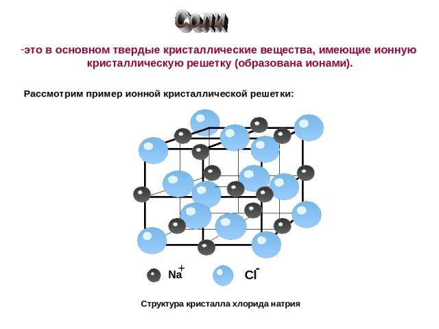 Структура кристалла хлорида натрия это в основном твердые кристаллические вещества, имеющие ионную кристаллическую решетку (образована ионами). Рассмотрим пример ионной кристаллической решетки: