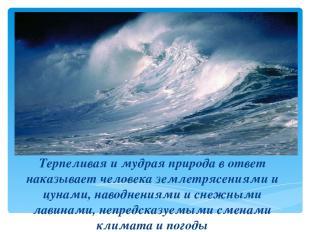 Терпеливая и мудрая природа в ответ наказывает человека землетрясениями и цунами
