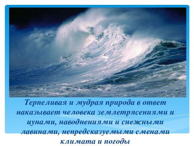 Терпеливая и мудрая природа в ответ наказывает человека землетрясениями и цунами, наводнениями и снежными лавинами, непредсказуемыми сменами климата и погоды