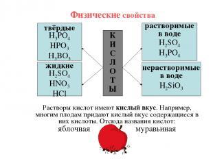 Физические свойства К И С Л О Т Ы твёрдые H3PO4 HPO3 H3BO3 жидкие H2SO4 HNO3 HCl