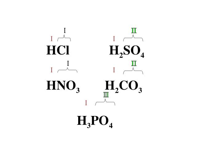 HCl H2SO4 HNO3 H2CO3 H3PO4
