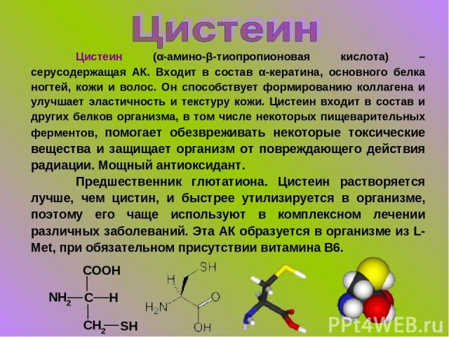 Цистеин (α-амино-β-тиопропионовая кислота) – серусодержащая АК. Входит в состав α-кератина, основного белка ногтей, кожи и волос. Он способствует формированию коллагена и улучшает эластичность и текстуру кожи. Цистеин входит в состав и других белков…