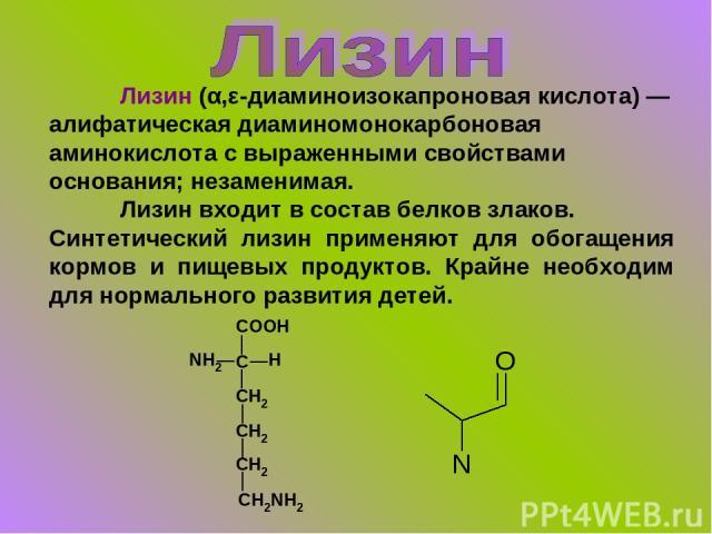 Лизин (α,ε-диаминоизокапроновая кислота) — алифатическая диаминомонокарбоновая аминокислота с выраженными свойствами основания; незаменимая. Лизин входит в состав белков злаков. Синтетический лизин применяют для обогащения кормов и пищевых продуктов…