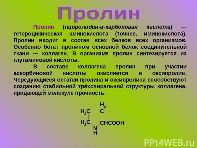 Проли н (пирролидин-α-карбоновая кислота) — гетероцикическая аминокислота (точнее, иминокислота). Пролин входит в состав всех белков всех организмов. Особенно богат пролином основной белок соединительной ткани — коллаген. В организме пролин синтезир…