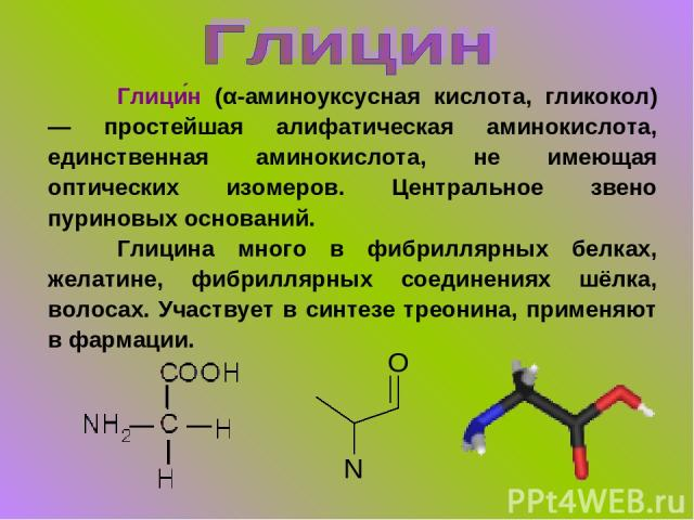 Глици н (α-аминоуксусная кислота, гликокол) — простейшая алифатическая аминокислота, единственная аминокислота, не имеющая оптических изомеров. Центральное звено пуриновых оснований. Глицина много в фибриллярных белках, желатине, фибриллярных соедин…