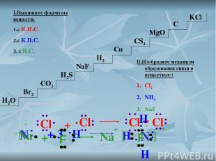 I.Выпишите формулы веществ: 1.с К.Н.С. 2.с К.П.С. 3. с И.С. H2O Br2 CO2 H2S H2 N