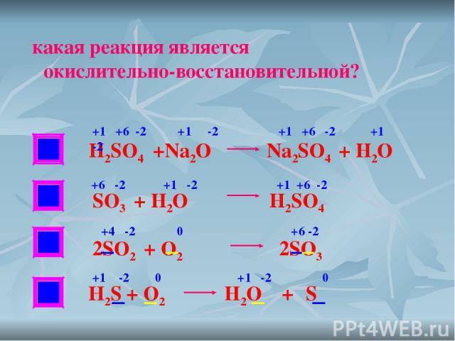 НЕТ НЕТ какая реакция является окислительно-восстановительной? H2SO4 +Na2O Na2SO4 + H2O SO3 + H2O H2SO4 2SO2 + O2 2SO3 +1 +6 -2 +1 -2 +1 +6 -2 +1 -2 +6 -2 +1 -2 +1 +6 -2 +4 -2 0 +6 -2 +1 -2 0 +1 -2 0