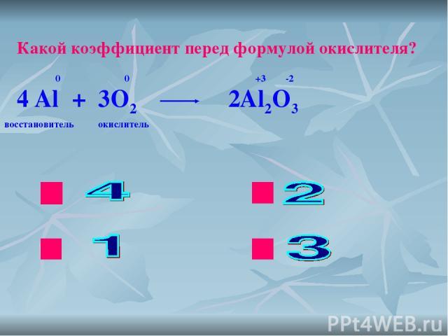 ok нет нет нет Какой коэффициент перед формулой окислителя? Al + O2 Al2O3 0 0 +3 -2 4 2 3 восстановитель окислитель