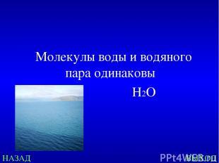 НАЗАД ВЫХОД Молекулы воды и водяного пара одинаковы Н2О