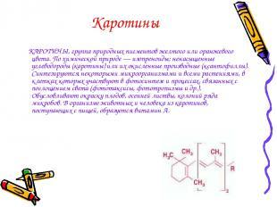 Каротины КАРОТИНЫ, группа природных пигментов желтого или оранжевого цвета. По х