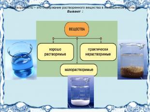 Растворимость – это содержание растворенного вещества в насыщенном растворе. Быв