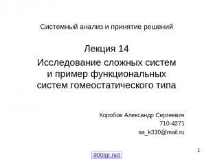 Системный анализ и принятие решений Лекция 14 Исследование сложных систем и прим