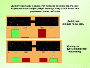 Диффузией также называется процесс самопроизвольного выравнивания концентраций м