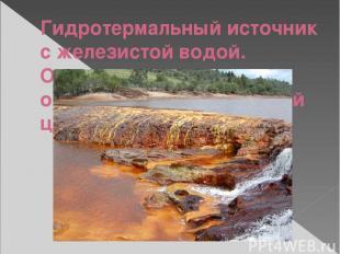 Гидротермальный источник с железистой водой. Оксиды железа окрашивают воду в бур